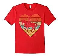 Dressage Vintage Design Retro Horseback Riding Heart Sport Shirts Red