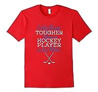 Hockey Mom Funny Distressed Puck Sticks Shirts Red
