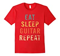 Retro Eat Sleep Guitar Repea Player Tea Rock Band Shirts Red