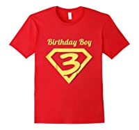 3rd Birthday Boy Gift Super Hero T-shirt Red