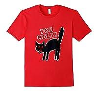 Funny Halloween Scary Black Cat Horror Gift Creepy Black Cat Shirts Red