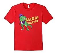 Mardi Grawr T Rex Dinosaur Mardi Gras Bead T Shirt T-shirt Red