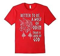 Vikings Wolf Rune Circle Wolf Of Odin Norse Mythology T-shirt Red