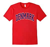Denmark Varsity Style Navy Blue Text T-shirt Red