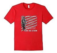 Military Combat Veteran Proud Patriot Us Flag I Am The Storm Premium T-shirt Red