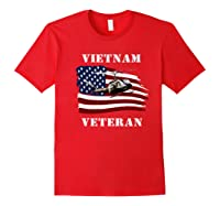 Vietnam Veterans Uh 1 Huey Helicopter American Flag Shirts Red