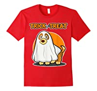 Dog Ghost Halloween Party Trick For Treat Shirts Red
