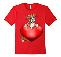 Valentines Day Dog Boxer Heart Gift Girl Shirts Red