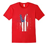 Peace American Flag Funny Gift 4th Of July Shirt Red