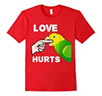 Love Hurts Yellow Head Amazon Parrot Biting Finger Shirts Red