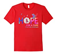 Hope For A Cure Pancreatic Cancer Butterfly Flower Shirts Red