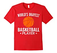 Vintage World's Okayest Basketball Player Funny Sports Gift Shirts Red