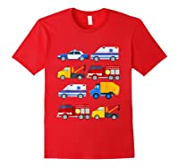 Emergency Vehicles Fire Truck Police Car Ambulance Tow Truck Shirts Red
