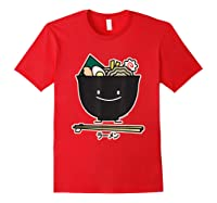 Ra Bowl Noodles Chopsticks Seaweed Soup Char Siu Pork T-shirt Red