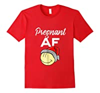 Pregnant Af Baby Bump Christmas Shirts Red