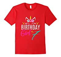 Birthday Girl 7 Year Old Gift Cute Unicorn Face 7th Bday T-shirt Red