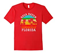 Boca Raton Florida Palm Trees Sunset Matching Vacation T-shirt Red