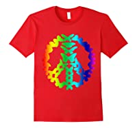 Butterflies Peace Sign Love Butterfly 60s Retro Hippie Gift T-shirt Red