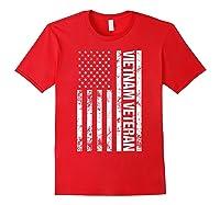 American Flag Vietnam Veteran T-shirt Red