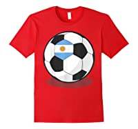 Argentinian Flag On Soccer Ball   Argentina Football Shirts Red