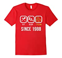 Eat Sleep Cycling Since 1988 T-shirt 30th Birthday Gift Tee Red