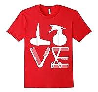 Hairdresser Love Hairdryer Scissors Barber Hair Brush Shirts Red