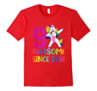 9 Years Old 9th Birthday Unicorn Dabbing Girl Party Shirts Red