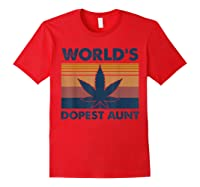 World\\\'s Dopest Aunt Weed Vintage T-shirt Red