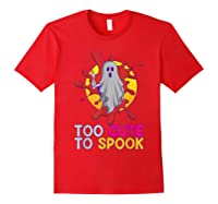Cute Ghost Girls Costume Spooky Halloween T-shirt Red