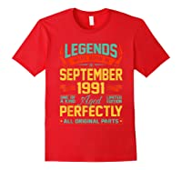 Legends Were Born In September 1991 29th Birthday Gifts Shirts Red