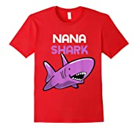 Nana Shark Funny Family Gift Mother's Day Shirts Red
