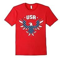 Patriotic American Flag Bald Eagle Usa T Shirt Red