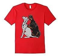 Cute Fashionable Doberman Tattooing Dalmatian Dog Gift Shirts Red