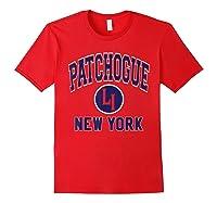 Patchogue Li Varsity Style Navy Blue Print Shirts Red