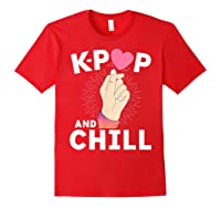 K Pop And Chill Finger Heart Korean Kpop Merchandise Shirts Red