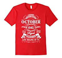 Vintage October 1945 75th Birthday Gifts For 75 Years Old Shirts Red
