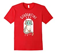 Quarantine And Chill Cat Face Mask T-shirt Red