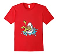 Shark Eats Zombie Funny Halloween Girls Shirts Red