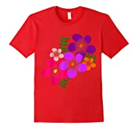 Blooming Flower, Blooms, Blossoms, Garden, Bunch Of Flowers T-shirt Red