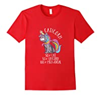 Caticorn Magical Unicorn Cat Animal Lover Gift Shirts Red