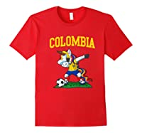 Dabbing Soccer Colombia Unicorn Colombian Football Shirts Red