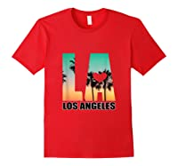 Los Angeles Design La Palm Tree Sunset Boulevard T-shirt Red