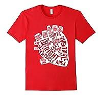 Anatomical Heart Cardiac Nurse Parts Of Heart Shirts Red