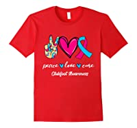 Peace Love Cure Light Blue Pink Ribbon Clubfoot Awareness Shirts Red