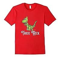 Tree Rex Funny Dino Christmas Lights Shirts Red