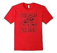 Sesame Street Crunch Characters T Shirt Red