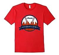 Vintage Retro Houston City Skyline Baseball Tshirt Red