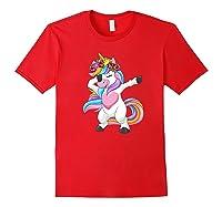 Dabbing Unicorn Shirt Flower Girl Dab Dance Horse Gift Premium T-shirt Red