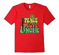 Peace Love Music Reggae Guitar T-shirt For Everyone Red