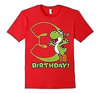 Super Mario Yoshi 3rd Birthday Action Portrait T-shirt Red